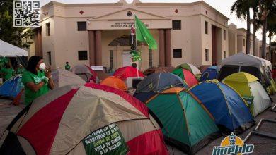 Photo of Campamento en apoyo al aborto bajo sus tres causales cumple una semana frente al Palacio Nacional